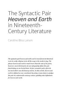 "Paper: The Syntactic Pair ""Heaven and Earth"" in Nineteenth-Century Literature"